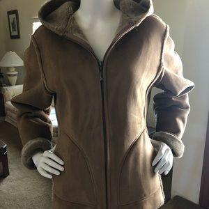 Hooded suede sherpa jacket